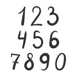 Bold number font hand drawn. Bold simple number font hand drawn isolated Stock Photo
