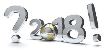 2018 bold number. question mark exclamation mark 3d render socce. 2018 bold number. question mark exclamation mark 3d render football ball Stock Photos
