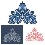Bold outline floral paisley motif Stock Photos