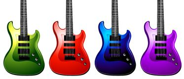 Bold Rock Guitars. Bold Colored Electric Guitars that can rock any artwork or design vector illustration