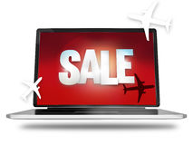 Bold Sale silhouette planes red laptop screen. Graphic illustration image stock illustration