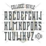 Bold serif font in college style with contour Stock Images