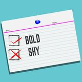 Bold or Shy on paper with creative design for your greetings card royalty free illustration