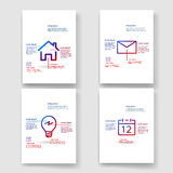 Bold simple line icon infographic template design Royalty Free Stock Images