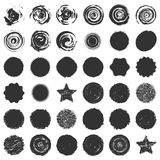 Bold Stamps Bundle. Distressed post Stamp texture set. Circle grunge scratched lable background. Aged bold round cover template. Used circular icon, badge Stock Photo