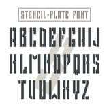 Bold stencil-plate sans serif font in military style. Black font on light background royalty free illustration