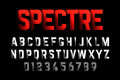 Bold style font with shadow effect. Spectre typeface, alphabet and numbers Royalty Free Stock Photography