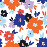 Bold stylized colorful flowers on white background vector seamless pattern royalty free illustration