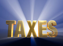 Bold Taxes. Gold TAXES on a dark blue background brilliantly backlight with light rays shining through Royalty Free Stock Photography