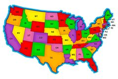 Bold US Map With Abriviations Stock Photo