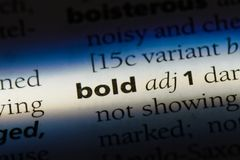 Bold. Word in a dictionary.  concept stock photos