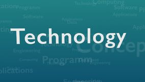 Light blue background with different words, which deal with technology. Close up. Copy space. 3D. Animatiom. 4K. stock illustration