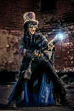 Boldness. Portrait of a steampunk man in the ruins Stock Photo