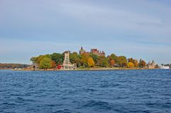 Boldt Castle in Thousand Islands, New York, USA. Boldt Castle and Alster Tower on Heart Island, Thousand Islands area of New York State, USA royalty free stock image