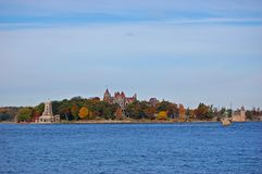 Boldt Castle in Thousand Islands, New York, USA. Boldt Castle and Alster Tower on Heart Island, Thousand Islands area of New York State, USA stock photos