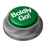 Boldy Go Button. Boldly go button in green and silver Stock Photo