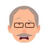 Boleściwa twarzy emocja na starsza osoba mężczyzna głowy wektorze ilustracji