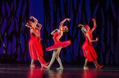 Bolero ballet. DNIPRO, UKRAINE - SEPTEMBER 7, 2018: Bolero ballet performed by members of the Dnipro State Opera and Ballet Theatre stock photo