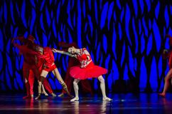 Bolero ballet. DNIPRO, UKRAINE - SEPTEMBER 7, 2018: Bolero ballet performed by members of the Dnipro State Opera and Ballet Theatre royalty free stock photography