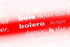 Bolero. Word in a dictionary.  concept stock image