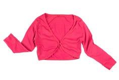 Bolero jacket. Bright light cotton women's pink bolero jacket isolated on white background royalty free stock photography