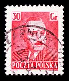 Boleslaw Bierut 1892-1956, President, serie, circa 1950. MOSCOW, RUSSIA - FEBRUARY 21, 2019: A stamp printed in Poland shows Boleslaw Bierut 1892-1956, President stock photography