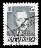 Boleslaw Bierut 1892-1956, President, serie, circa 1950. MOSCOW, RUSSIA - FEBRUARY 21, 2019: A stamp printed in Poland shows Boleslaw Bierut 1892-1956, President royalty free stock photo