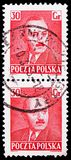 Boleslaw Bierut 1892-1956, President, serie, circa 1950. MOSCOW, RUSSIA - FEBRUARY 21, 2019: Two postage stamps printed in Poland shows Boleslaw Bierut 1892-1956 royalty free stock image
