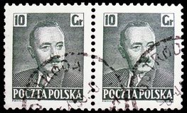 Boleslaw Bierut 1892-1956, President, serie, circa 1950. MOSCOW, RUSSIA - FEBRUARY 21, 2019: Two postage stamps printed in Poland shows Boleslaw Bierut 1892-1956 stock photography