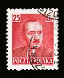 Boleslaw Bierut (1892-1956), President, serie, circa 1950. MOSCOW, RUSSIA - MAY 13, 2018: A stamp printed in Poland shows Boleslaw Bierut (1892-1956), President royalty free stock photography
