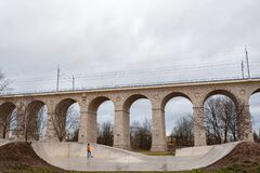 Free Boleslawiec, Poland. 01/04/2020. Rail Viaduct Over Valley With River Bobr. Royalty Free Stock Photo - 179310375
