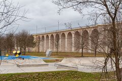 Free Boleslawiec, Poland. 01/04/2020. Rail Viaduct Over Valley With River Bobr. Stock Photo - 179310380