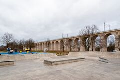 Free Boleslawiec, Poland. 01/04/2020. Rail Viaduct Over Valley With River Bobr. Stock Photo - 179310510