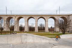 Free Boleslawiec, Poland. 01/04/2020. Rail Viaduct Over Valley With River Bobr. Stock Images - 179310514