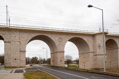 Free Boleslawiec, Poland. 01/04/2020. Rail Viaduct Over Valley With River Bobr. Stock Photos - 179311383