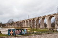 Free Boleslawiec, Poland. 01/04/2020. Rail Viaduct Over Valley With River Bobr. Stock Photos - 179311473