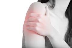 Bolesna ręka w kobiecie odizolowywającej na białym tle Ścinek ścieżka na białym tle zdjęcia stock