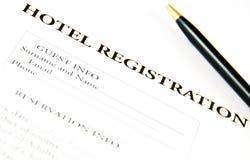 Boletín de inscripción en blanco de hotel Foto de archivo libre de regalías