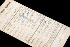 Boletín de notas 1928 Imagen de archivo
