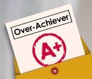 Boletín de notas A+ del Sobre-cumplidor más el Overachiever superior Evaluat del grado Imagen de archivo libre de regalías