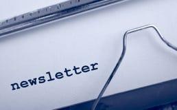 Boletín de noticias de la máquina de escribir Fotografía de archivo