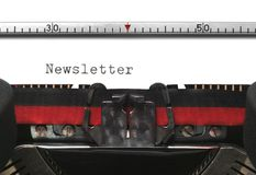 Boletín de noticias de la máquina de escribir Foto de archivo libre de regalías