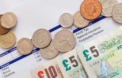 Boletim de salário e dinheiro foto de stock royalty free