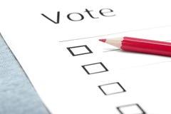 Boletín de votación Imagen de archivo libre de regalías