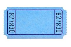 Boleto azul en blanco de la película o de la rifa aislado en blanco Imágenes de archivo libres de regalías
