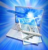 Boleto de E en el ordenador Foto de archivo libre de regalías