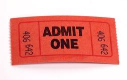 Boleto de la admisión Fotografía de archivo libre de regalías