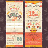 Boleto de la invitación de la fiesta de cumpleaños Foto de archivo libre de regalías