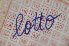 Boleto de lotería con la escritura Fotos de archivo