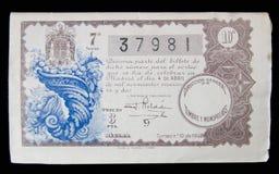 Boleto de lotería del año 1942 Imagenes de archivo